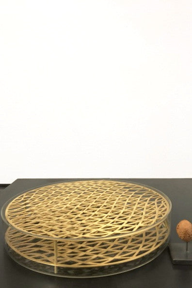 Brass grid vase messing large