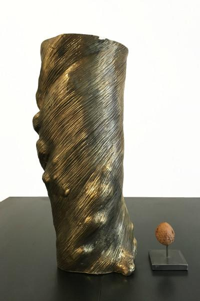 Vase twist gold leaf patina