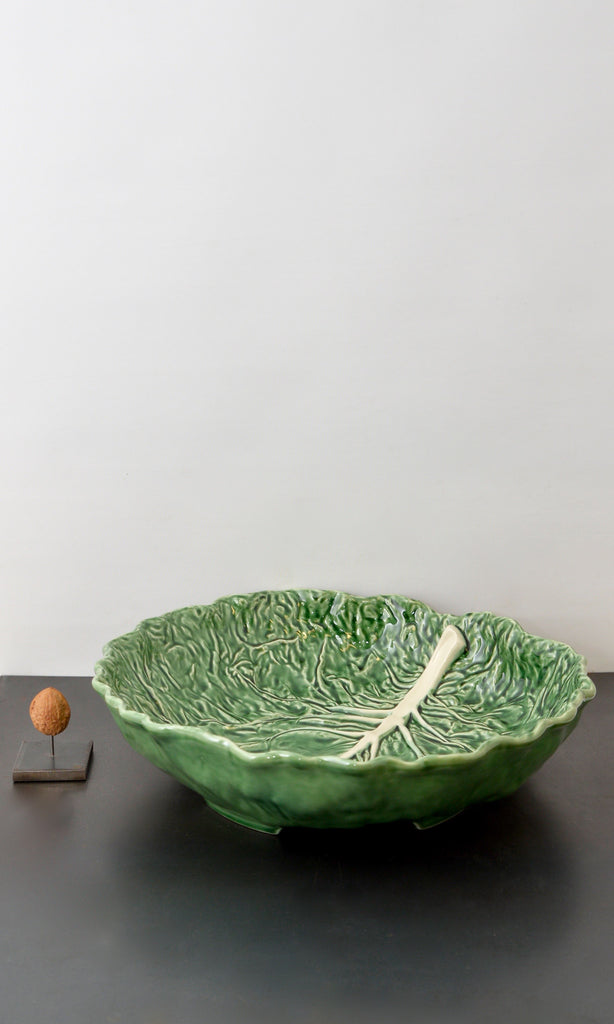 Cabbage leaf bowl round ceramic