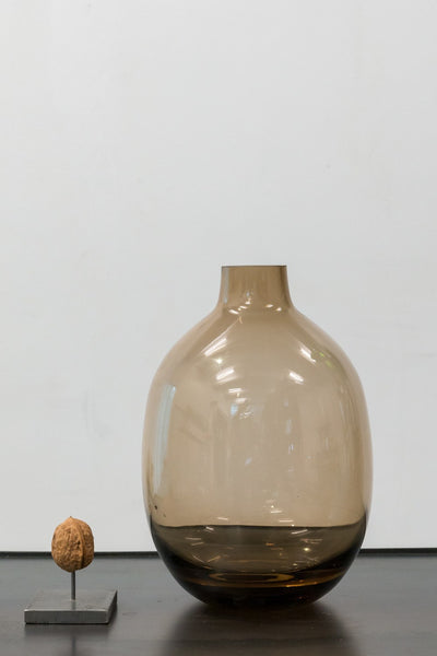 round brown glass vase
