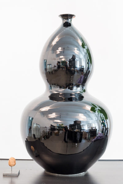 Vase - Chinese Pumpkin Shaped Vase Black Gloss (Large)