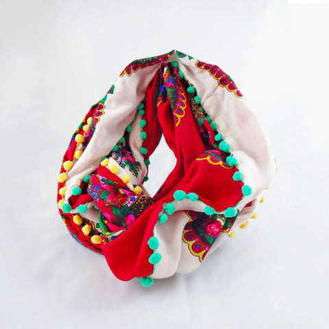 Double-Sided Infinity Red and White Scarf
