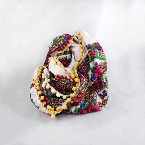 Double-Sided Infinity White Scarf