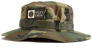 Salty Crew ALPHA STAMPED Wood CAMO BUCKET  WATERPROOF BOONIE   Hat
