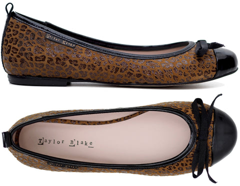 Womens Leopard Leather Ballerina Pump