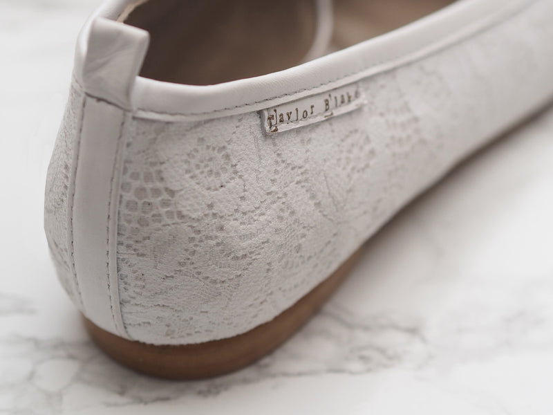 White Lace and Leather Wedding Ballerina Flats