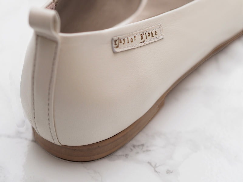 Ivory Leather Bridal Ballet Pumps
