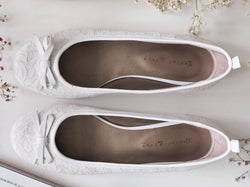 White lace and leather ballet flats by Taylor Blake