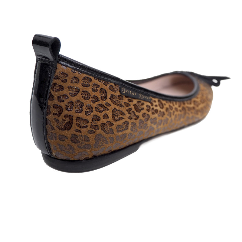 soft leopard leather ballerina flat