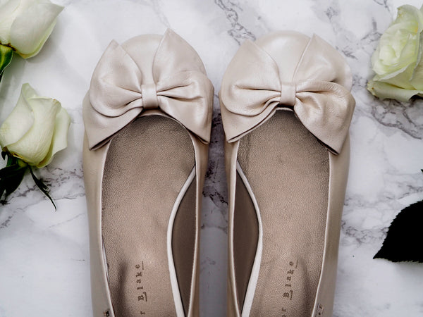 Ivory Leather Wedding Ballerina Flats