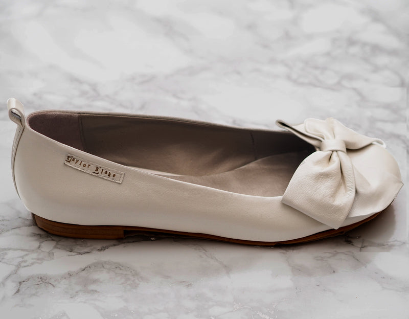 Ivory Leather Bridal Ballet Flats