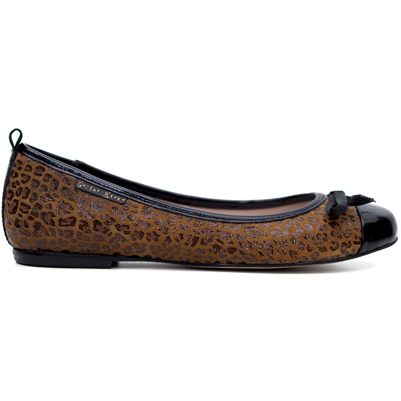 soft leopard leather ballerina flats