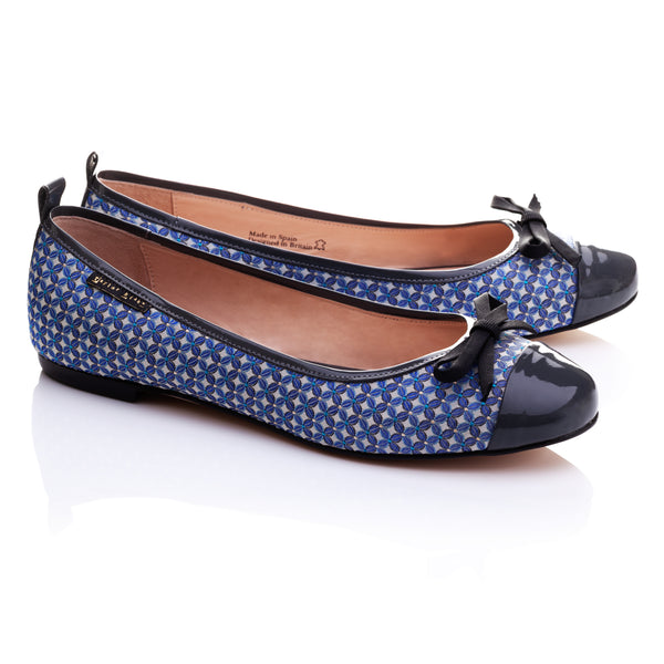 Cotton | Women's Blue & Grey Patterned & Patent Leather Ballet Pumps