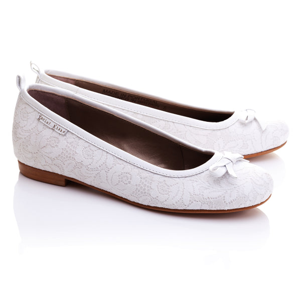 Florentine | Leather and Lace Bridal Ballet Flats