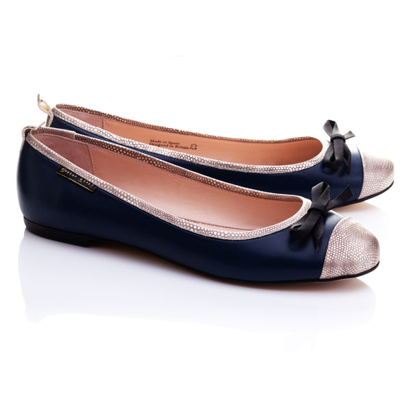 BESTSELLER | Copperhead | Women's Navy Blue Leather Ballet Flats
