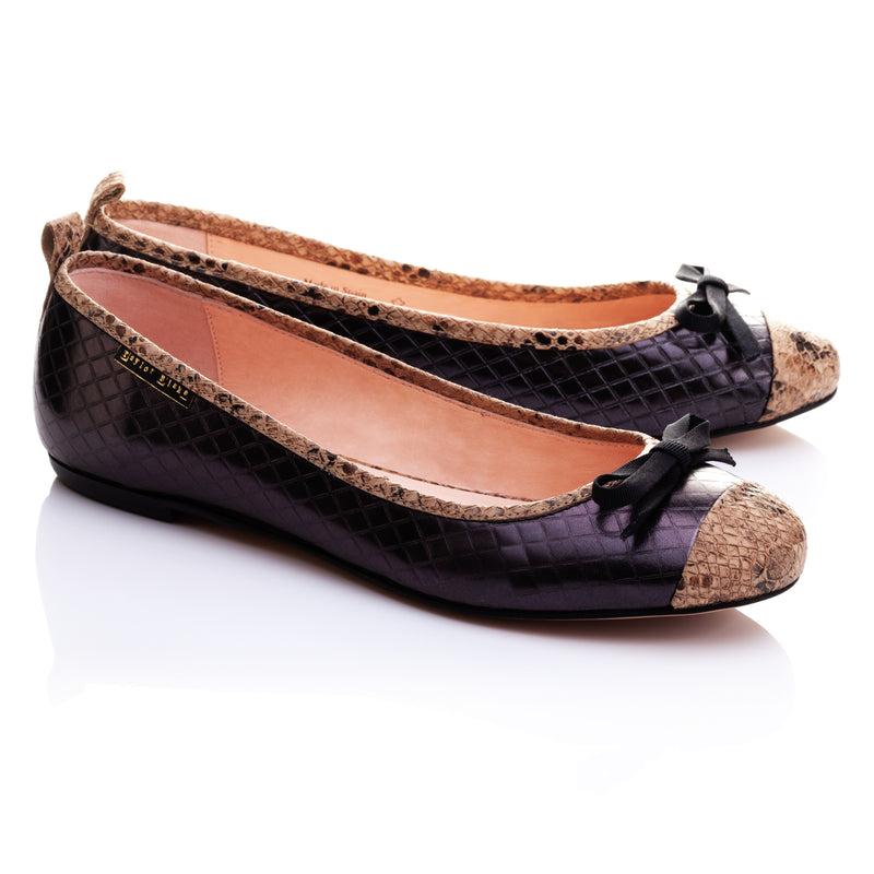 Harlequin | Soft Embossed Leather Ballerina Pumps