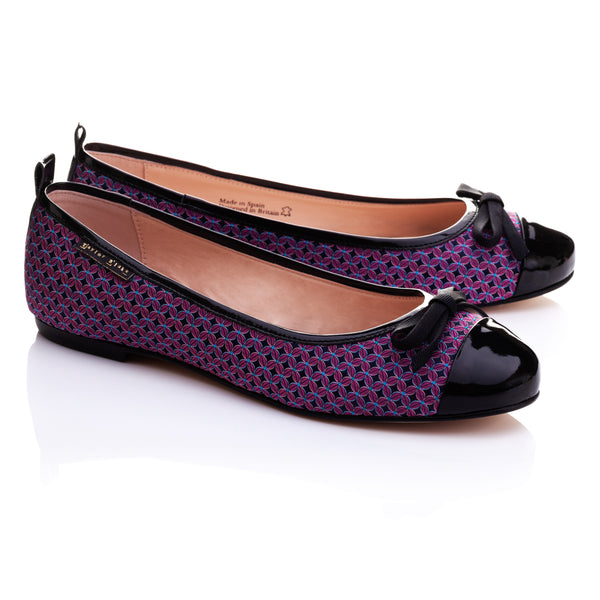 Abaco | Women's Fuchsia Pink & Black Patterned & Patent Leather Ballet Pumps