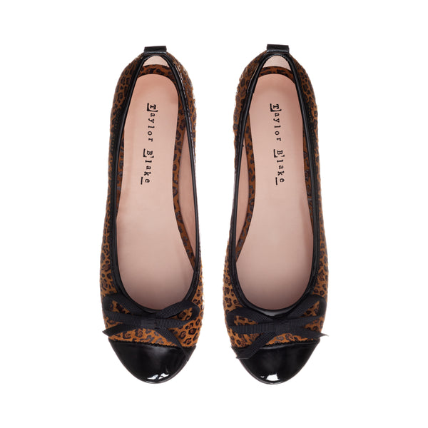 Savannah | Women's soft leather leopard ballerina pumps