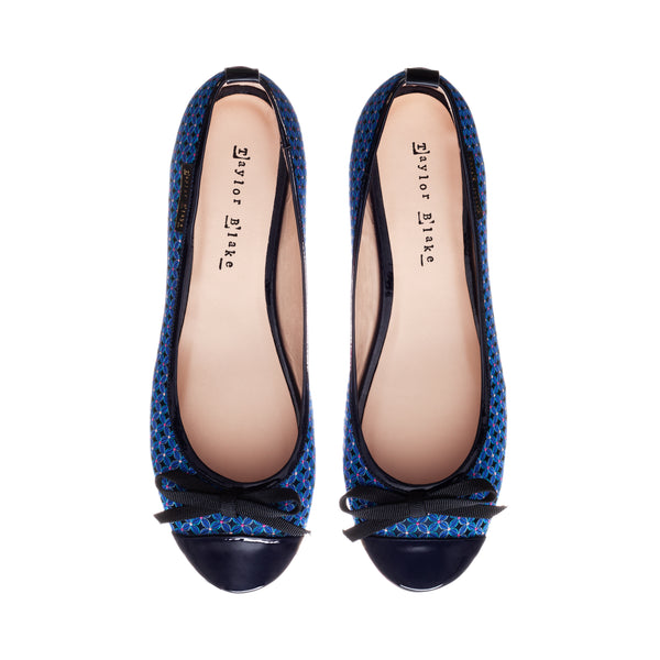 Nightingale | Women's Navy Blue Patterned & Patent Leather Ballet Pumps
