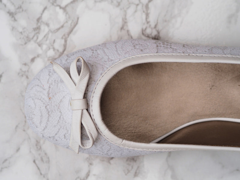 White Lace and Leather Bridal Ballet Pumps