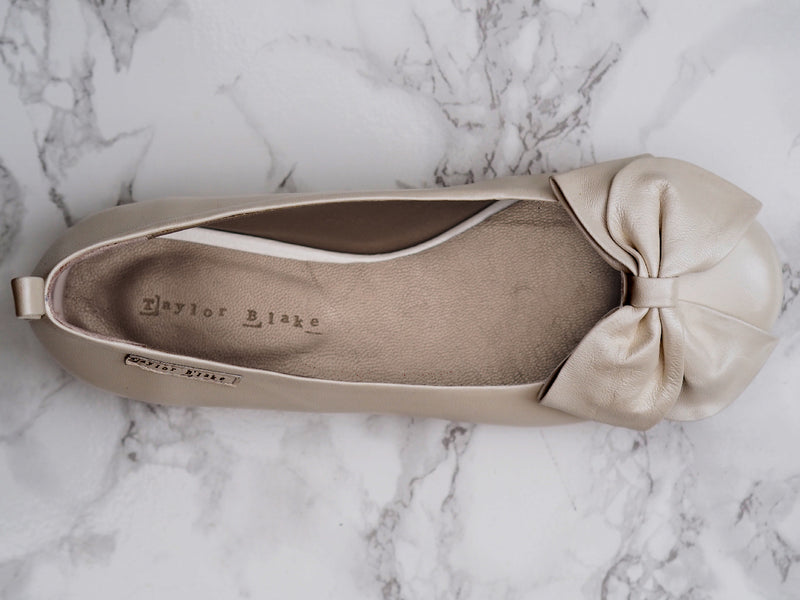 Ivory Leather Wedding Ballerina Pumps