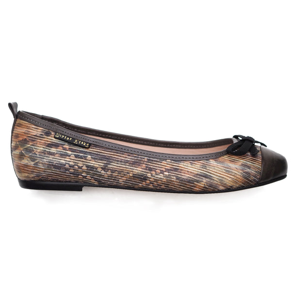 Italian leather snake print ballerina pumps