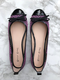 Sample Sale | Abaco | Women's Fuchsia Pink & Black Patterned & Patent Leather Ballet Pumps