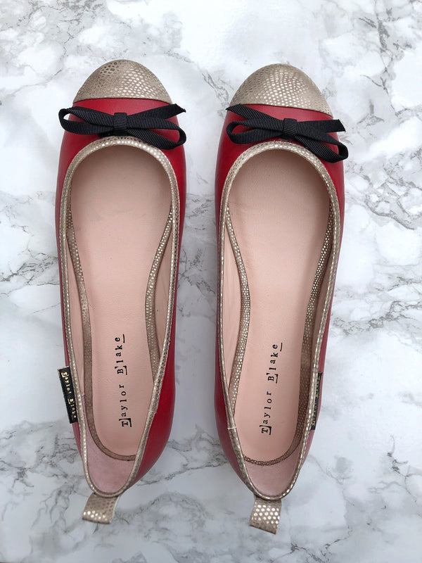 Taylor Blake Leather Ballerina Pumps Sample Sale