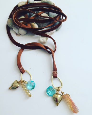 Soft leather long necklace