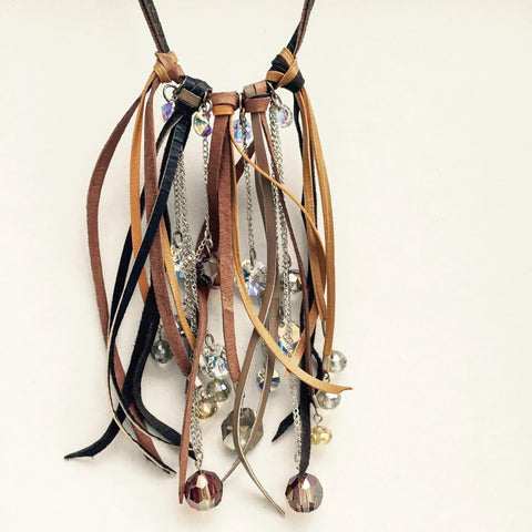 Leather and crystal necklace