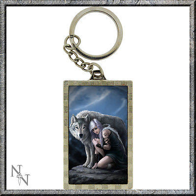 Keyring with lady with dragon image