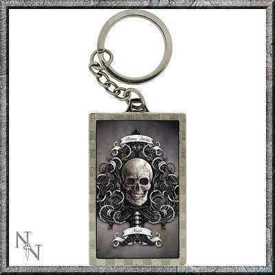 Metal keyring with 3D skull image