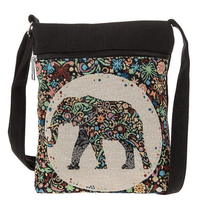 Tapestry elephant, flat shoulder bag