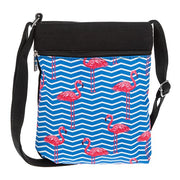 Blue flamingo flat shoulder bag