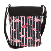 Black flamingo flat shoulder bag