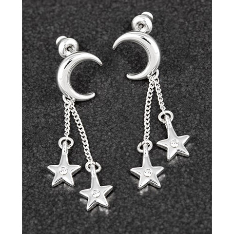 Silver plated Moon & Stars earrings