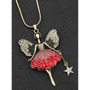 Red antique look fairy necklace