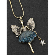 Blue antique look fairy necklace