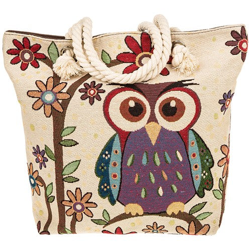 Tapestry owl design tote bag