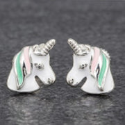 Girls unicorn earrings pink and green mane