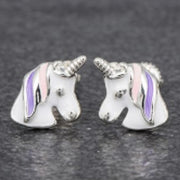 Girls unicorn earrings pink and purple mane