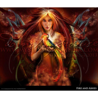 Fire and Ashes, fairy and baby phoenix print, © Mystic Moon Media LLC