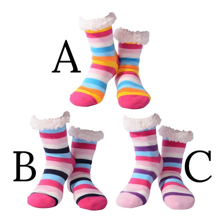 Laddies, stripey slipper socks