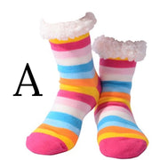 Ladies stripey slipper socks, Style A