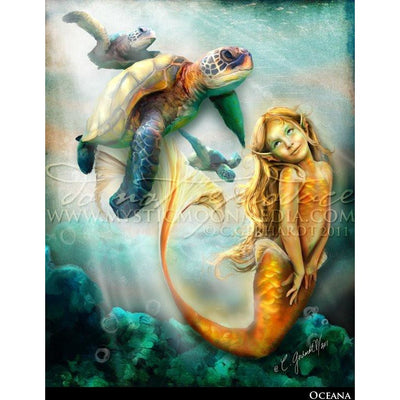Oceana, Young mermaid and sea turtles print, © Mystic Moon Media LLC