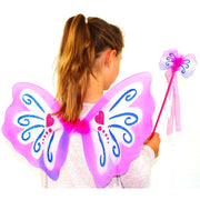 Pink pixie wings and wand set, on girl