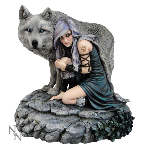 Protector, lady and wolf figurine