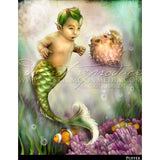 Puffer, Child Mermaid and Puffer fish print, © Mystic Moon Media LLC