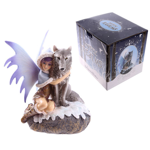 Snow Fairy with Wolf figurine