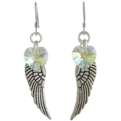 Angel wings earrings with Arora Borealis crystal heart